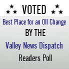 Awarded Best Place for an Oil Change, Valley News Dispatch