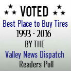 Awarded Best Place to Buy Tires, Valley News Dispatch